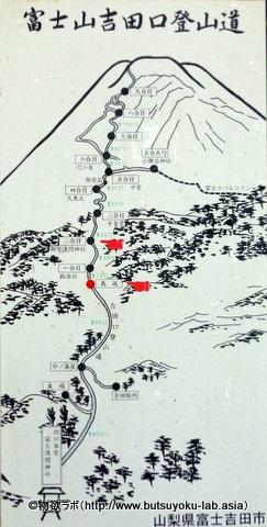 馬返にあった富士山吉田口登山道マップ_2