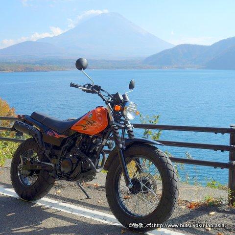 本栖湖から見える富士山とTW225E