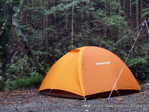 キャンプ場で張ったばかりの「mont-bell クロノスドーム2型_2